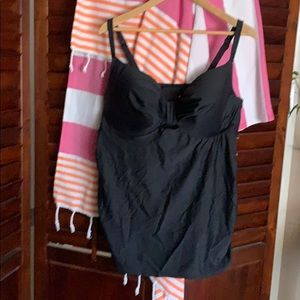 Black balconette tankini top with keyhole detail
